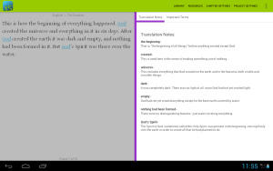 This is a view of translationStudio's translation notes for the Open Bible Stories. We want to create resources for Bible translation.